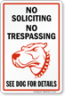 No Soliciting No Trespassing Security Dog Sign