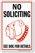 No Soliciting Security Dog Sign
