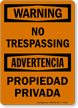 Bilingual OSHA Warning No Trespassing Sign