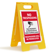No Trespassing Video Surveillance FloorBoss XL™ Floor Sign