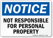 OSHA Notice Company Not Responsible Sign