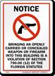Notice Florida Gun Control Law Sign