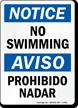 Notice No Swimming Bilingual Sign
