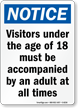 Notice Visitors Under 18 Sign