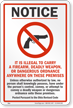 Ohio It Is Illegal To Carry A Firearm Sign