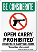 Open Carry Prohibited, Concealed Carry Welcome Sign