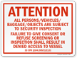 Attention Persons/Vehicles/Baggage/Objects Subject To Security Marsec Sign