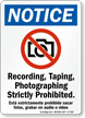 Recording, Taping, Photographing Strictly Prohibited Sign (with Graphic)