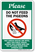 Please Do Not Feed The Pigeons Sign