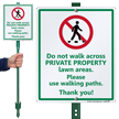 No Walking in Private Property Lawn Areas Sign