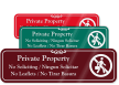 Bilingual Private Property - No Soliciting Engraved Sign
