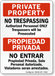 Private Property No Trespassing Authorized Personnel Bilingual Sign