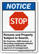 Stop Persons Property Subject To Search Notice Sign