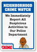 Report Suspicious Activities McGruff Crime Watch Sign