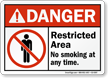 Restricted Area No Smoking At Any Time Sign