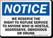 OSHA Notice Right To Refuse Service Sign