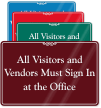 Visitors And Vendor Sign In Office Wall Sign
