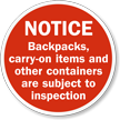 Carry-On Items Are Subject To Inspection Sign