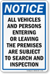 Subject To Search And Inspection Sign