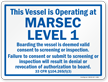 Vessel Operating At Marsec Level 1 Sign, Blue