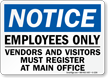 Notice Employees Only Others Must Register Sign