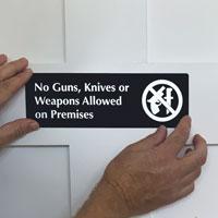 No Guns Knives Weapons Signs
