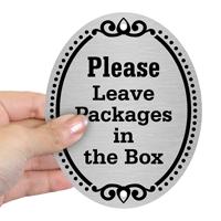 Please Leave Packages DiamondPlate Door Sign