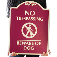 No Trespassing & Beware Of Dog Graphic Signs