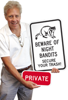 Beware of Night Bandits (Racoon) Secure Trash Signs