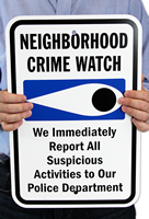 Neighborhood Crime Watch Signs (with crime watch symbol)