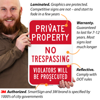Private Property Trespassing Violators Prosecuted Signs