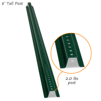 8' Tall High-Strength Baked Enamel Post (with bolts & nuts)