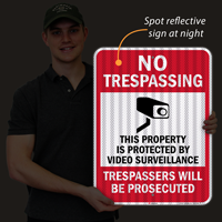 No Trespassing Property Video Surveillance Signs