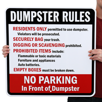 No Parking In Front Of Dumpster Sign