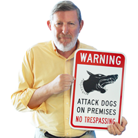 Warning Attack Dogs No Trespassing Signs