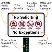 No Soliciting, No Exceptions Signs