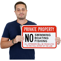 Private Property: No Swimming & No Fishing Sign