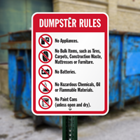 Dumpster Rules Signs (with Graphic)