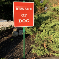 Beware of dog sign for yard