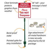 Features of do not trespassing yard sign for private property