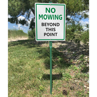 No mowing beyond this point sign