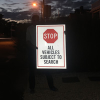 Stop All Vehicles Subject to Search BigBoss Sign