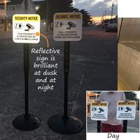Reflective video surveillance sign