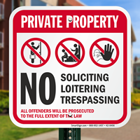 Private Property No Soliciting Trespassing Signs
