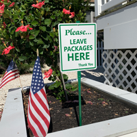 Leave Packages Here Thanks You LawnBoss Sign