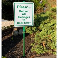 Deliver All Packages To Back Door LawnBoss Sign