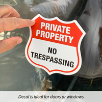 No trespassing decal for door
