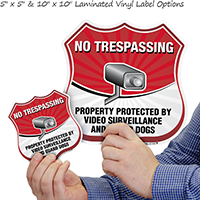 Property Protected By Video Surveillance And Guard Dogs Sign