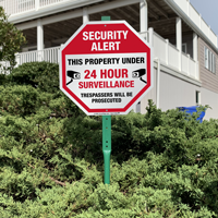 24 hour surveillance sign for lawn