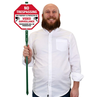 No trespassing video surveillance signs for lawn